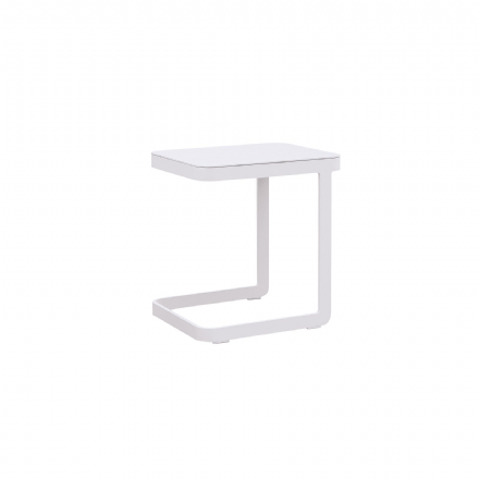 Verona Aluminium U Shape Side Table in White